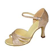billige Sko til latindans-Dame Latin Jazz Swingsko Salsa Glimtende Glitter Sandaler Høye hæler Innendørs Ytelse Profesjonell Nybegynner Trening Paljett Spenne
