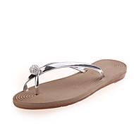 baratos Sapatos Femininos-Mulheres Sapatos Courino Primavera / Outono Rasteirinhas Chinelos e flip-flops Caminhada Sem Salto Ponta Redonda Cristais Roxo / Prateado