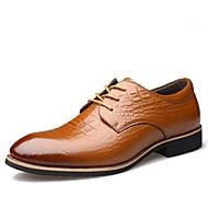 Herre sko Lær Vår Sommer Høst Vinter Trendy støvler formell Sko Komfort Oxfords Drapert Til Avslappet Fest/aften Svart Brun