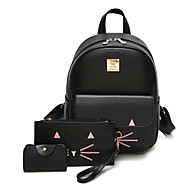 Women Bags All Seasons PU Backpack for Casual Black Pink