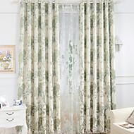 cheap Curtains & Drapes-Rod Pocket Grommet Top Tab Top Double Pleat Pencil Pleat Two Panels Curtain European , Jacquard Flower Bedroom Linen / Cotton Blend