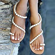Kadın Ayakkabı PU Bahar Yaz Sonbahar Sandaletler Alçak Topuk Boncuklama Uyumluluk Günlük Elbise Parti ve Gece Bej Badem