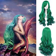 Γυναικείο Συνθετικές Περούκες Χωρίς κάλυμμα Κυματομορφή Σώματος Πράσινο Περούκα άνιμε Απόκριες Περούκα Καρναβάλι περούκα φορεσιά περούκες