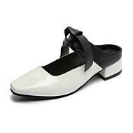 Damă Pantofi PU Primăvară Vară Toamnă Confortabili Mocasini & Balerini Plimbare Toc Jos Vârf pătrat pentru Casual Alb Negru