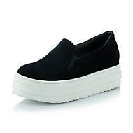 baratos Sapatos de Tamanho Pequeno-Feminino-TênisRasteiro-Preto Bege Cinzento Verde-Flanelado-Escritório & Trabalho Social Casual