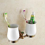 מחזיק למברשת שיניים גאדג'ט לאמבטיה / פליז עתיק ניאוקלאסי