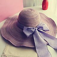 Mulheres Férias / Ao ar Livre De Palha / Chapéu de sol - Laço Sólido / Verão