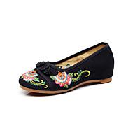 hesapli -Kadın's Ayakkabı Kanvas Bahar Yaz Rahat Düz Ayakkabılar Düşük Topuk Günlük Dış mekan için Siyah Bej Kırmzı