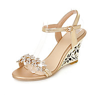 Women's Sandals Spring Summer Fall Club Shoes PU Wedding Office & Career Dress Wedge Heel Rhinestone Buckle Silver Rose Gold