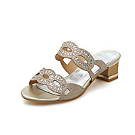 Women's Slippers & Flip-Flops Summer Comfort Customized Materials Dress Casual Party & Evening Chunky Heel Rhinestone Gold Silver Walking