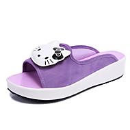 baratos Sapatos Femininos-Mulheres Sandálias de calcanhar plano Couro Ecológico Verão Conforto Sandálias Sem Salto Dedo Aberto Preto / Roxo / Vermelho