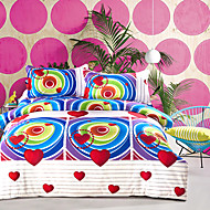 3D(random pattern) Duvet Cover Sets 4 Piece Poly/Cotton 3D Reactive Print Poly/Cotton Queen 1pc Duvet Cover 2pcs Shams 1pc Flat Sheet