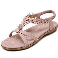 baratos Sapatos Femininos-Mulheres Sapatos Couro Ecológico Primavera / Verão Solados com Luzes / Conforto Sandálias Caminhada Sem Salto Ponta Redonda Tachas /