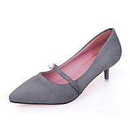 cheap Women's Heels-Women's Shoes PU Spring Summer Comfort Heels Kitten Heel Pointed Toe Pearl for Casual Dress Black Gray Pink