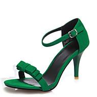 Women's Sandals Summer Club Shoes Velvet Office & Career Dress Casual Stiletto Heel Bowknot Buckle Black Green Purple