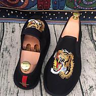 Homme Mocassins et Chaussons+D6148 couple Chaussures Polyuréthane Printemps Décontracté couple Chaussures Elastique Talon Plat Noir Plat