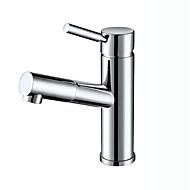 Moderni Art Deco/Retro Integroitu Ulosvedettävä suihkupää with  Keraaminen venttiili Yksi kahva yksi reikä for  Kromi , Kylpyhuone Sink
