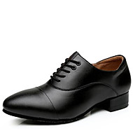 Herre Moderne Lær Høye hæler Utendørs Lav hæl Svart Svart og Hvit 3 cm Kan ikke spesialtilpasses