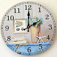 Tradicional Regional Antigo Retro Férias Família Relógio de parede,Inovador Madeira Plástico 35*35 Interior/Exterior Interior Relógio