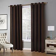 billige Gardiner-Propp Topp Et panel Window Treatment Moderne, Trykk Ensfarget Stue Lin/ Polyester Blanding Materiale gardiner gardiner Hjem Dekor