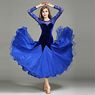 cheap Dancewear & Dance Shoes-Ballroom Dance Dresses Women's Performance Lace Tulle Velvet Lace Splicing Long Sleeves Natural 1 x User's Manual Dress
