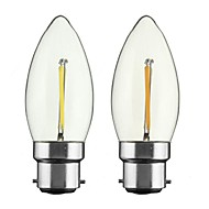 2W B22 E26/E27 フィラメントタイプLED電球 CA35 1 LEDの COB 調光可能 温白色 150-200lm 2700-3500K 交流220から240 AC 110-130V
