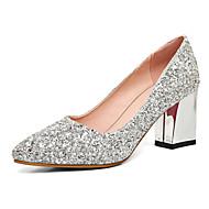 Damă Pantofi Sintetic Primăvară Vară Toamnă Pantofi Club Tocuri Toc Îndesat Vârf ascuțit Paiete pentru Nuntă Rochie Party & Seară Auriu