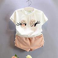 Toddler Girls' Cartoon Daily Patchwork Short Sleeve Regular Cotton Clothing Set White