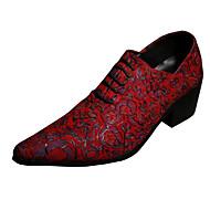 billige Sko i Store Størrelser-Herre sko Lær Vår Høst Komfort Original Oxfords Gange Blomst til Bryllup Fest/aften Rød