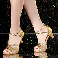 billige Sko til latindans-Dame Latin Sateng Kunstlær Syntetisk Sandaler Høye hæler Hel såle Trening Nybegynner Profesjonell Innendørs Opptreden Spenne Kubansk hæl