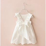 Pigens Kjole I-byen-tøj Ensfarvet, Bomuld Sommer Uden ærmer Rosette Hvid