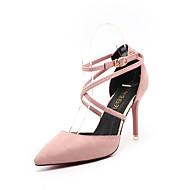 Női Magassarkúak Kényelmes PU Tavasz Kényelmes Stiletto Fekete Szürke Zöld Rózsaszín 4 inch-4 3 / 4 inch