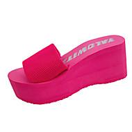 baratos Sapatos Femininos-Mulheres Sapatos Couro Ecológico Verão Sandálias Sem Salto Ponta Redonda Elástico Vermelho / Azul / Rosa claro