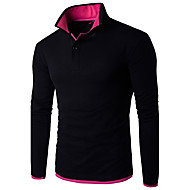 Men's Work Business Casual Active Plus Size Cotton Linen Slim Polo - Color Block Shirt Collar