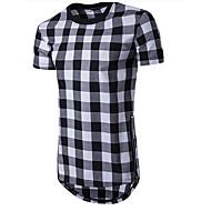 男性用 日常 スポーツ Tシャツ,カジュアル ラウンドネック ソリッド チェック コットン ポリエステル 半袖