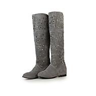 Dame-Fleece-Flat hæl-Komfort-Støvler-Fritid Sport Fest/aften-Svart Grå Rød