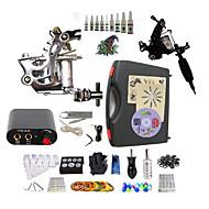 זול ערכות קעקועים למתחילים-BaseKey מכונת קעקוע ערכת התחלה - 2 pcs מכונה קעקוע עם 10 x 5 ml דיו קעקוע, מקצועי ספק כוח מיני כולל מארז 2 x מכונת קעקועים לתיחום והצללה פלדה