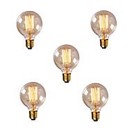 billige Glødelampe-5pcs 40W E26 / E27 G80 Varm hvit 2200-2700k Kontor / Bedrift Mulighet for demping Dekorativ Glødende Vintage Edison lyspære 220-240V