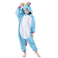 ieftine -Kigurumi Pijamale Unicorn Onesie Pijamale Costume Flanel Lână Albastru Cosplay Pentru Adulți Sleepwear Pentru Animale Desen animat