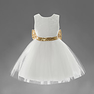 Toddler Girls' Sweet Party White Solid Colored / Embroidered Sequins / Bow / Layered Sleeveless Polyester Dress Beige