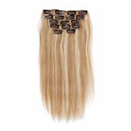 7pcs / set 14 polegadas clipe em extensões do cabelo 85g ombre humano destacou cabelos lisos