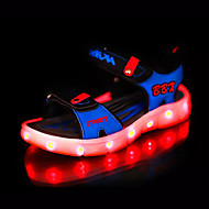 Sandály Svítící boty Nappa Leather Léto Boty do vody Přezky Plochá podrážka Černá Šedá Námořnická modř 2.5 - 4.5 cm