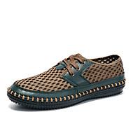 baratos Sapatos Masculinos-Homens Solas Claras Tule Primavera / Verão / Outono Conforto Tênis Vestível Cinzento Escuro / Azul / Verde Escuro