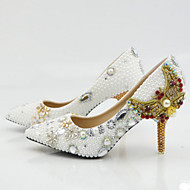 cheap High-end Wedding Shoes-Women's Shoes Leather Spring / Summer / Fall Comfort / Novelty Heels Stiletto Heel / Crystal Heel Pointed Toe Crystal / Bowknot / Pearl