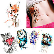 cheap Temporary Tattoos-5 Non Toxic Pattern Halloween Lower Back Waterproof Cartoon Animal Series Totem Series Tattoo Stickers