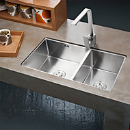 32 Inch Farmhouse Apron 60/40 Deep Double Bowl 16 Gauge Stainless Steel Luxury Kitchen Sink