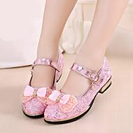 Para Meninas Sapatos de Barco Chanel Couro Ecológico Primavera Verão Casual Chanel Salto Baixo Salto Grosso Dourado Prata Rosa claro2,5 a