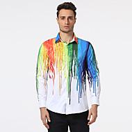 Hombre Estampado - Algodón Camisa, Cuello Inglés Multicolor / Manga Larga
