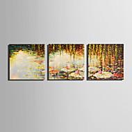 Landschap Bloemenmotief/Botanisch Modern,Drie panelen Canvas Vierkant Print Art Muurdecoratie For Huisdecoratie