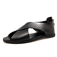 Men's Slippers & Flip-Flops Spring Summer Light Soles Leather Casual  Black White